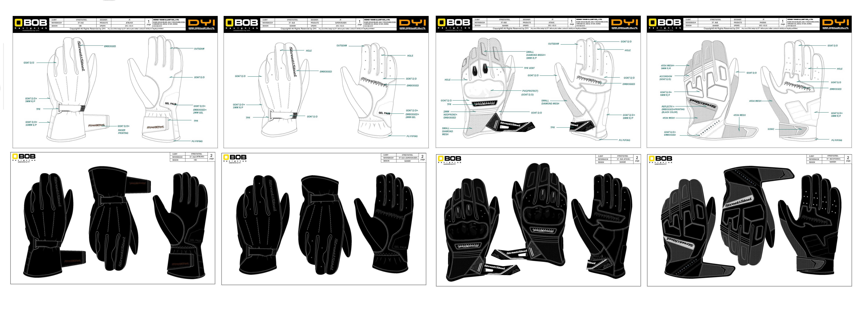 四款摩托车手套设计图