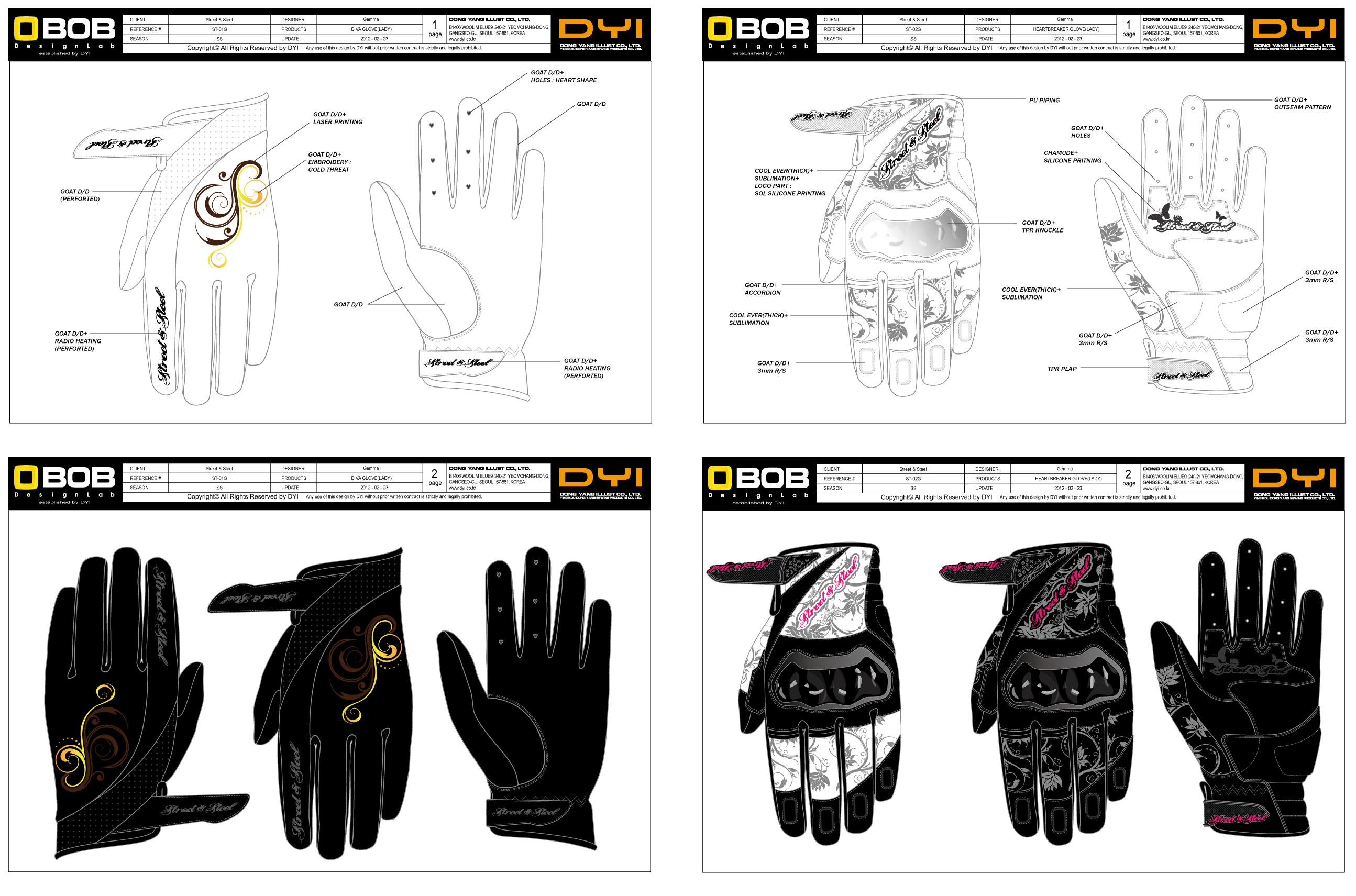 两款女士摩托车手套设计图