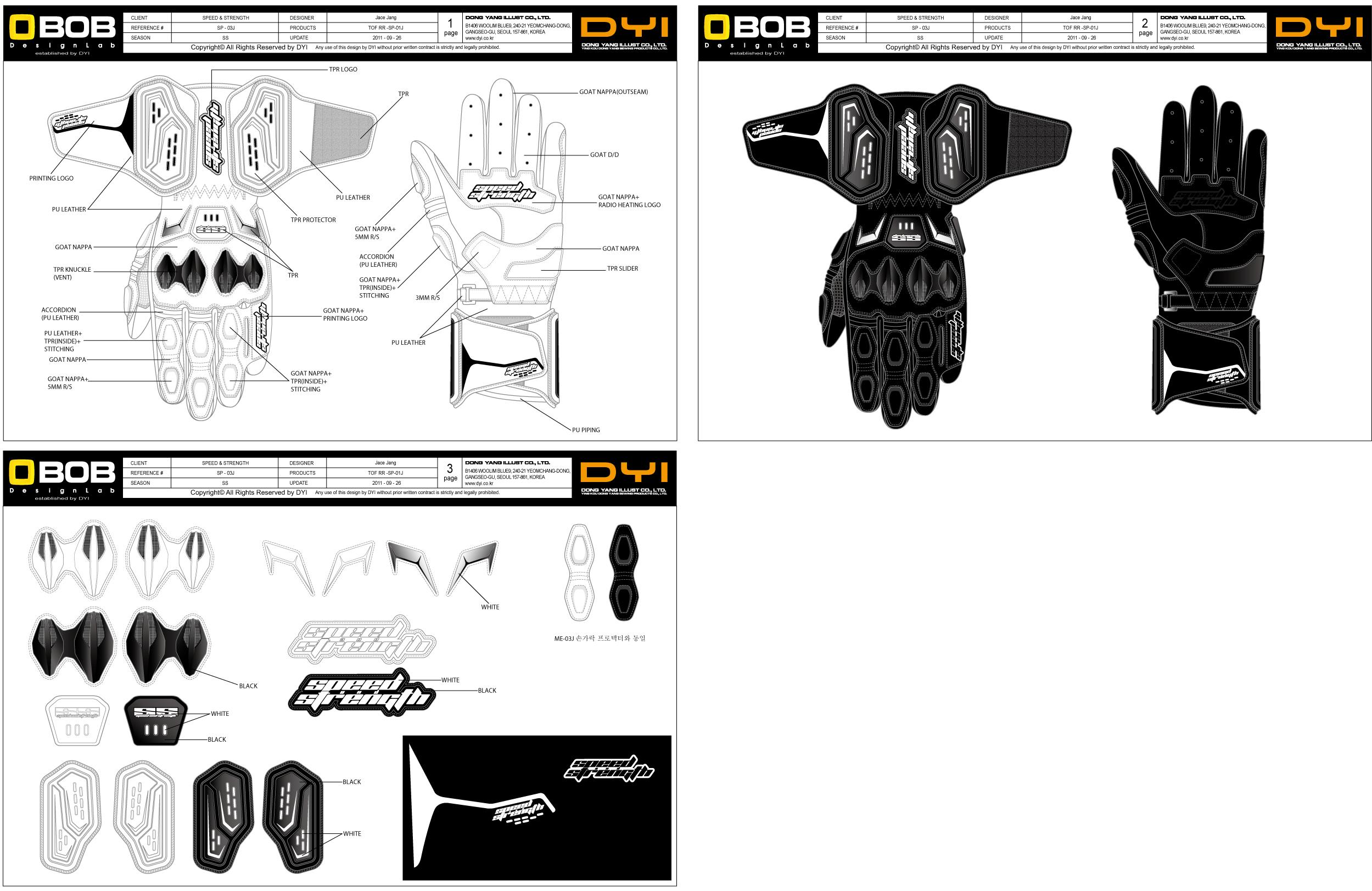 一长款摩托车手套设计图