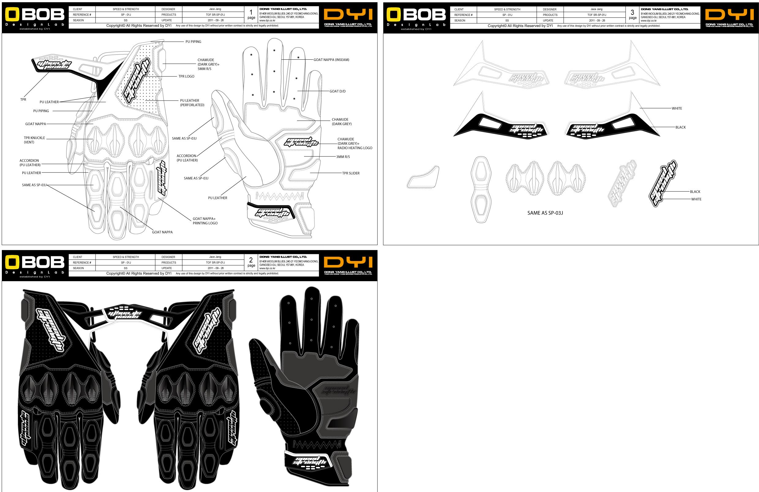 一短款摩托车手套设计图