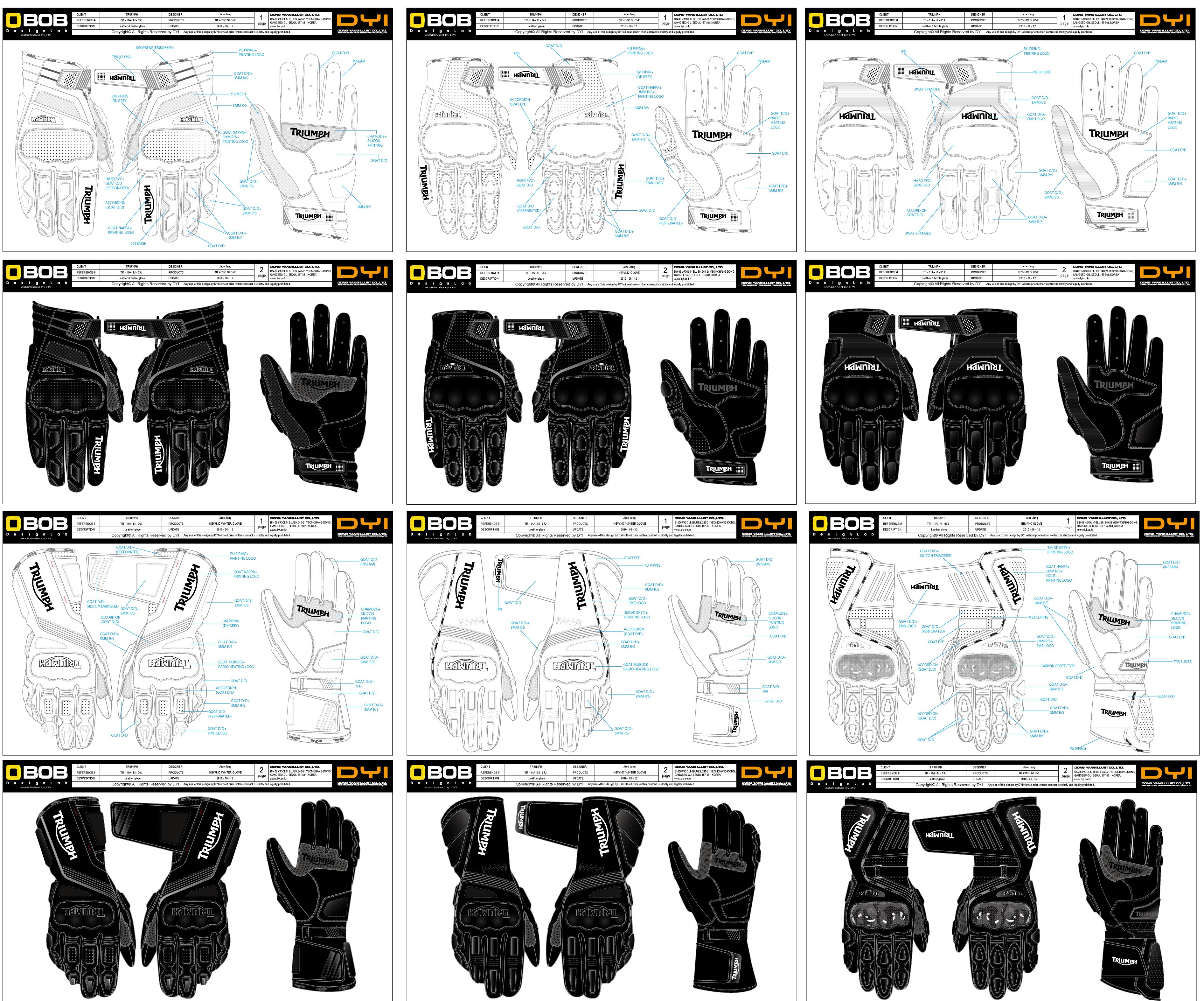 六款摩托车手套设计图