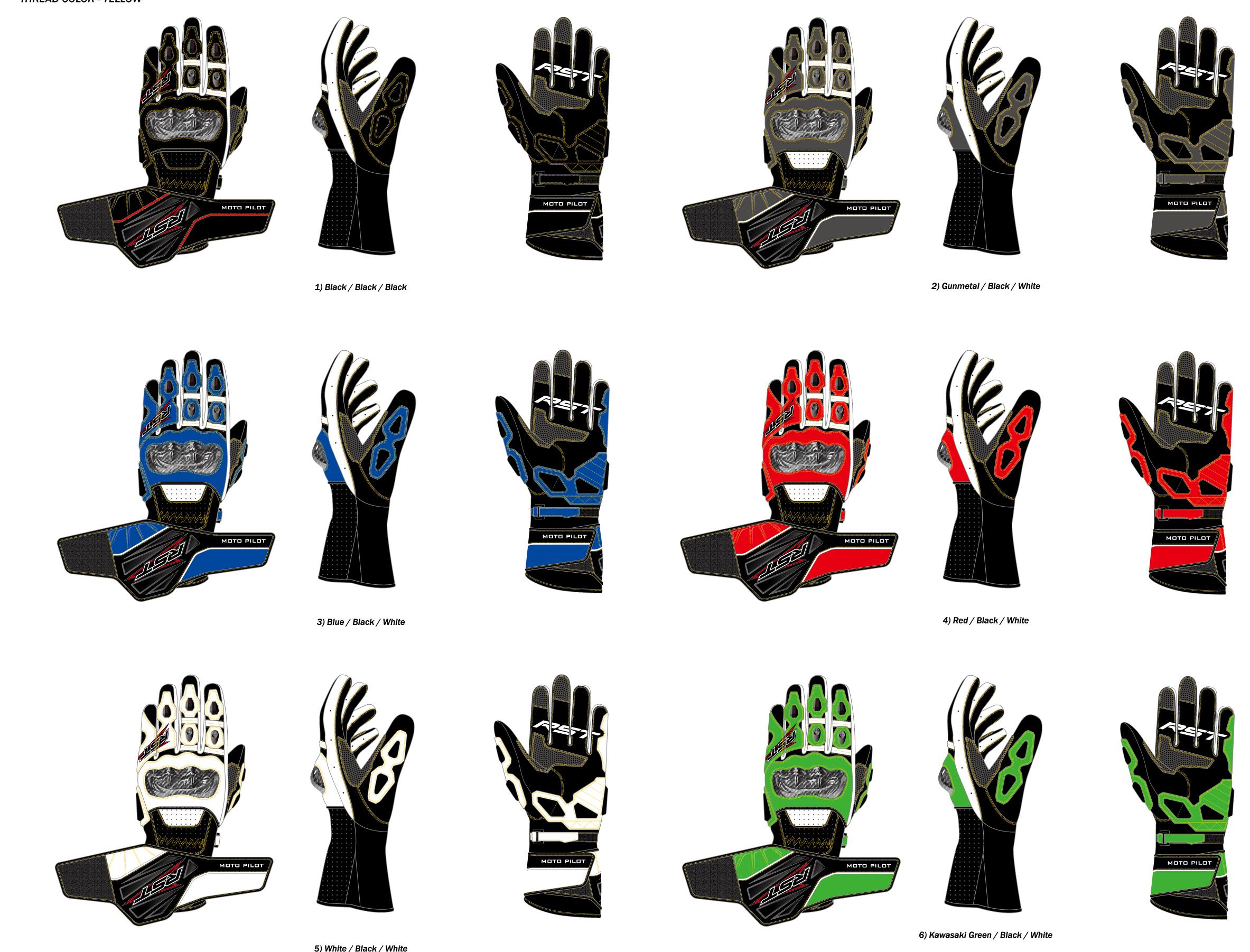 六个颜色搭配的长款摩托车手套