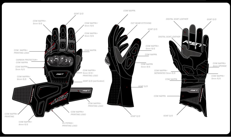 一款纯黑色摩托车手套