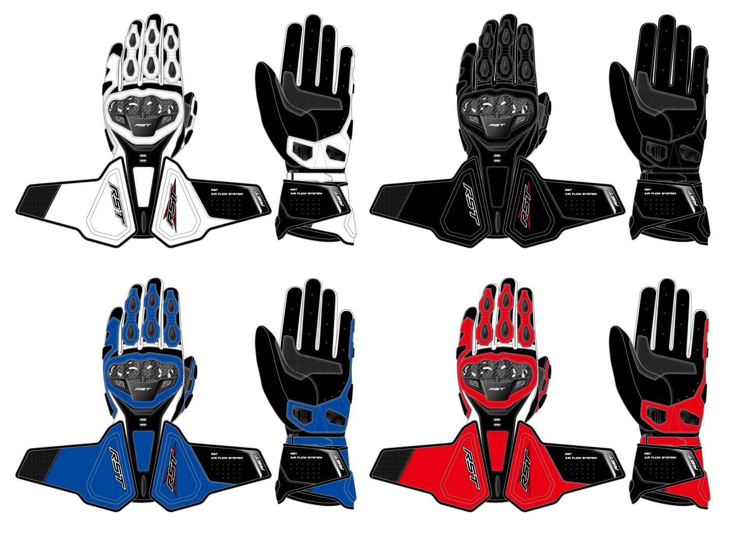 四个颜色长款摩托车手套